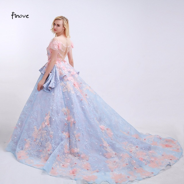 Finove Flowers Prom Dresses See Through O Neck 2018 News Pink ...