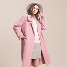Spinning Velvet Woolen Coat Winter Big Lapel Double-breasted Over The Knee Long Woolen Coat Thickening Knitted Straight Type notch lapel patch pocket back vent woolen coat