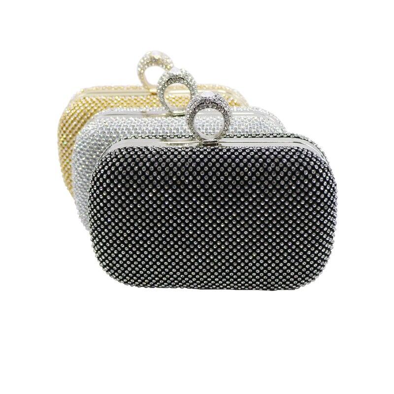 lussureggiante nel design qualità affidabile acquista per genuino Womens Evening Bag Oro/Argento/Nero Anello Knuckle Pochette Borsa ...