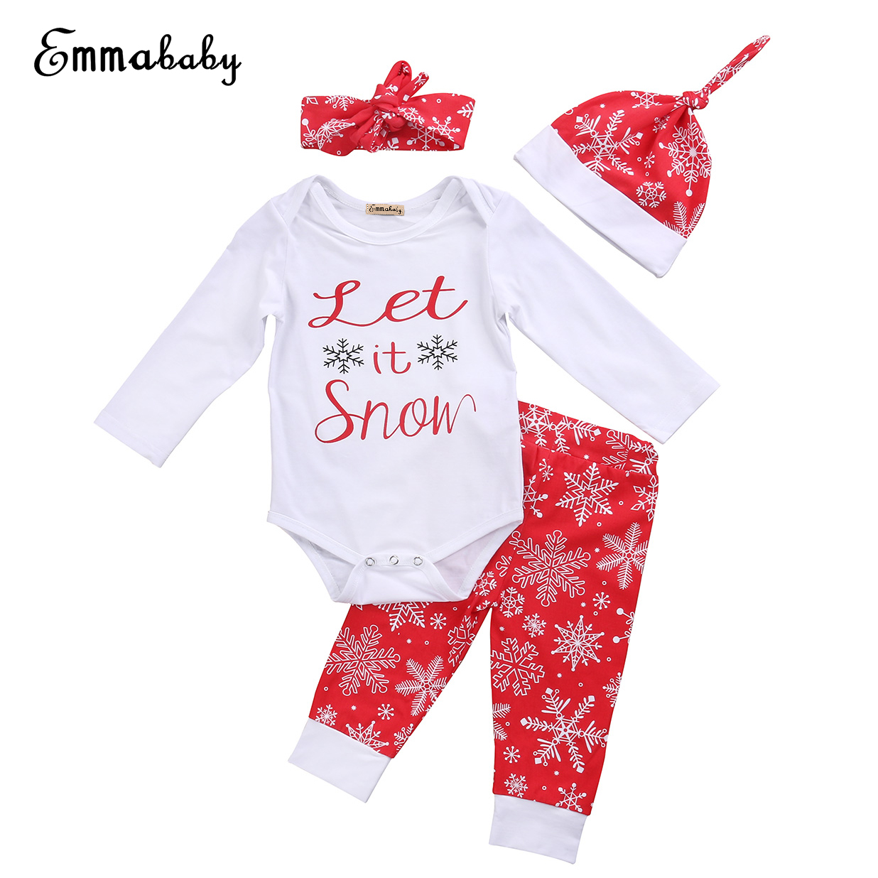 Emmababy 2017 0-24M Newborn Toddler Baby Girls Clothes Autumn Warm 4PCS Set Long Sleeve Bodysuits+Long Snow Pants+Hat+Headband