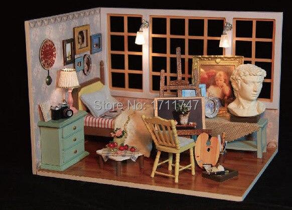 Oplichten kunstenaar miniatuur slaapkamer met muziek doos | diy ...