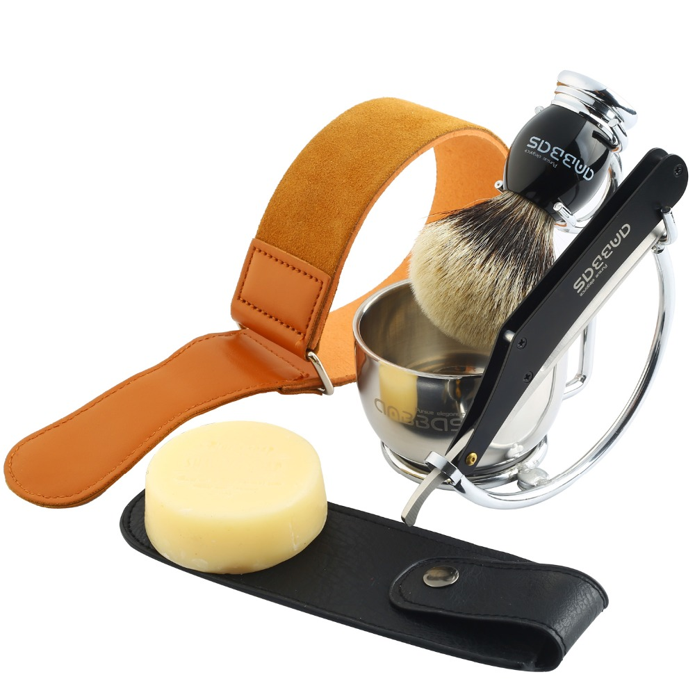 все цены на Anbbas 7Pcs Shaving Set Stainless Steel Straight Edge Razor Shaving Knife,Silvertip Badger Hair Brush,Stand,bowl,Soap,Strop