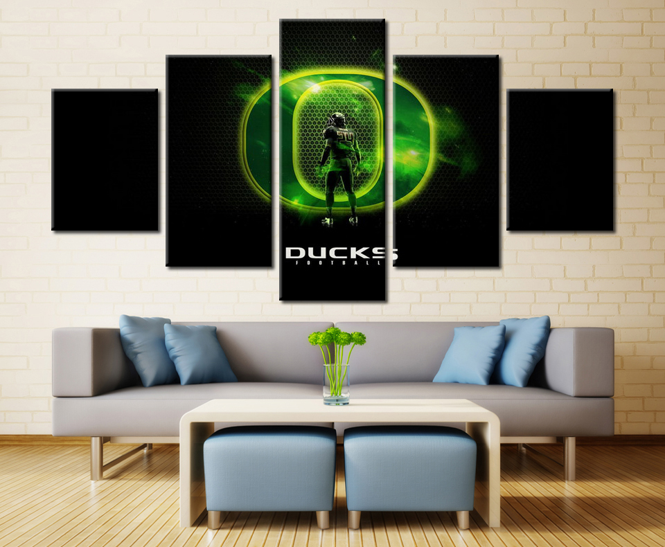 5 pieces set oregon ducks team modern home decorative wall for Modern decorative pieces