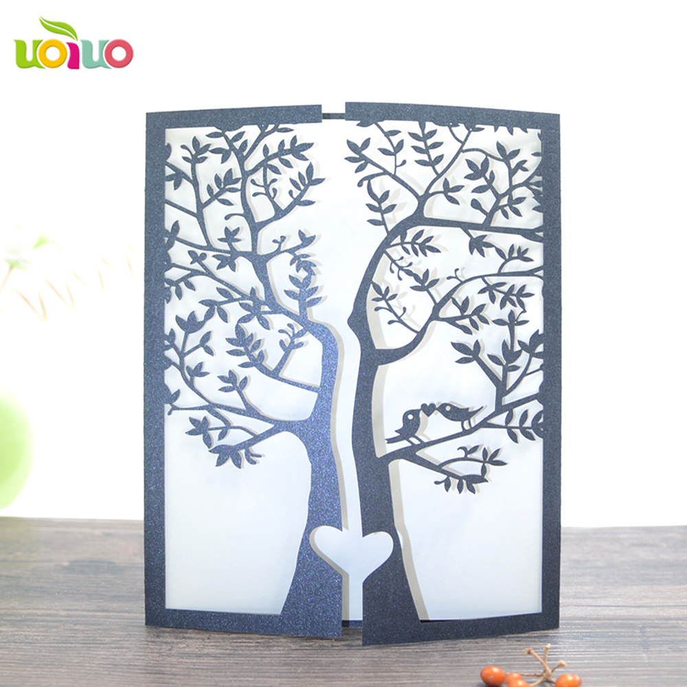 Laser cutting romantic love bird tree wedding invitation card modern lace fancy invitation cards for your best choice