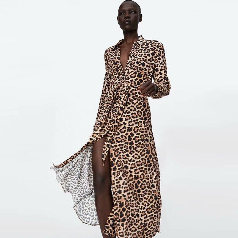 4ad41555c3 Autumn Vintage Animal Leopard Print Dresses Women Bow tied Sashes Shirt  Dresses Female Elegant Split Chic Midi Dress 2018-in Dresses from Women s  Clothing ...