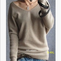 2015 Autumn Winter Women Fashion Sexy Cashmere Sweater V Neck Sweater Plus Size Loose 100 Wool