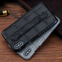 Luxury Phone Case For Apple For iPhone X XS Max XR 6 6S 7 8 Plus Original Natural Crocodile Belly With Strap Bracket Housing