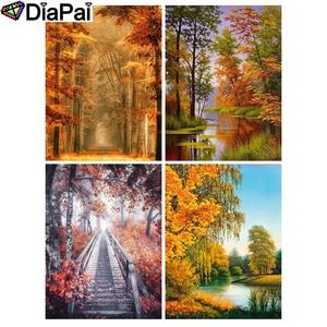 Алмазная живопись DIAPAI 5D DIY, полностью квадратная/круглая дрель с 3D вышивкой в виде дерева и пейзажа, домашний декор