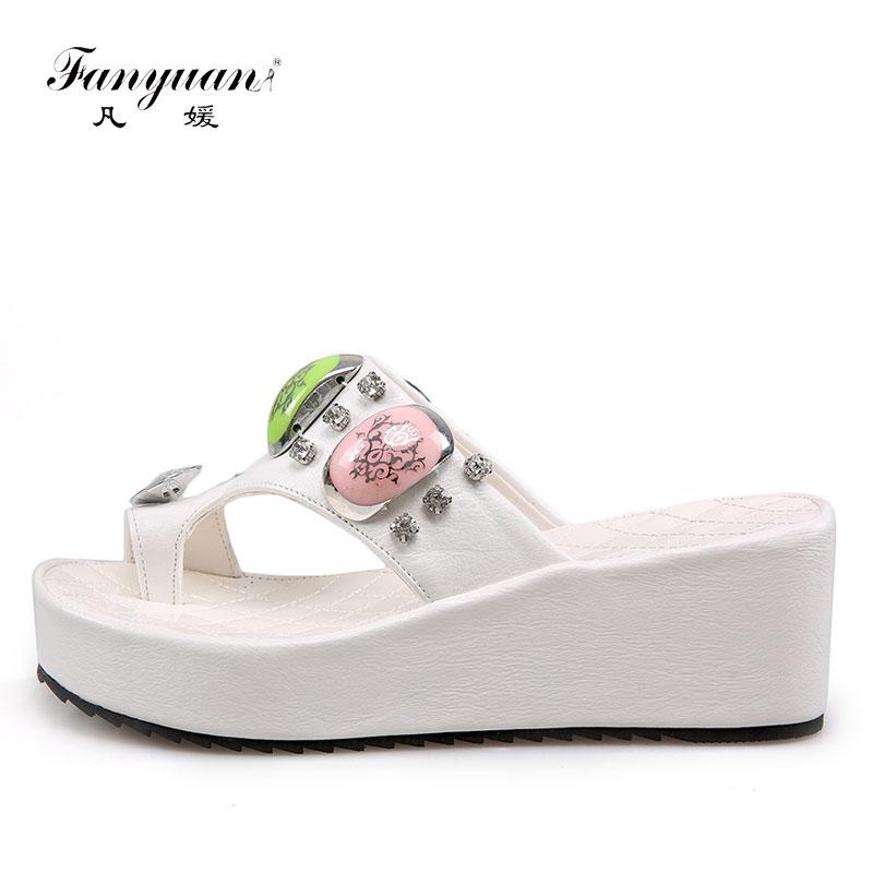 Detail Feedback Questions about Fanyuan 2018 Fashion Black White Summer  Girl s footwear PU Leather Women s Flats Rhinestones Ladies Flat Platform  Flip Flops ... c807c802fdc4