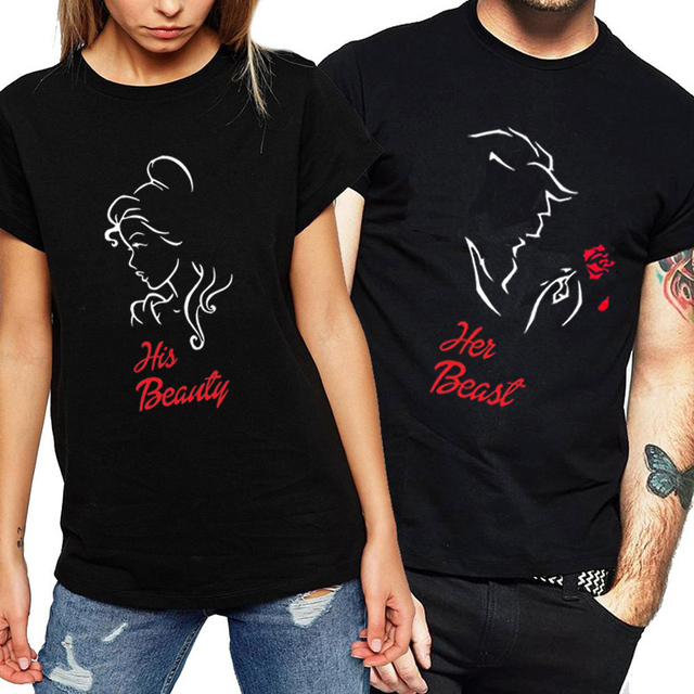 b9030c4686 Couple T Shirt for Lovers Short Sleeve O Neck T-shirt Women Print Beautiful  Girl T-shirt Cotton 2018 Summer Couple Clothes Brand