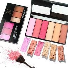 ZD 1pc 6 Colors Blush Bronzer Palette Highlighter Cheek Makeup Natural Mineral Blusher Powder Palettes Face Cosmetics F2065