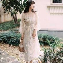 YOSIMI 2019 夏ヴィンテージメッシュ花刺繍ロング女性ドレスツーピースの服セットドレスイブニングパーティー O ネックフルスリーブ