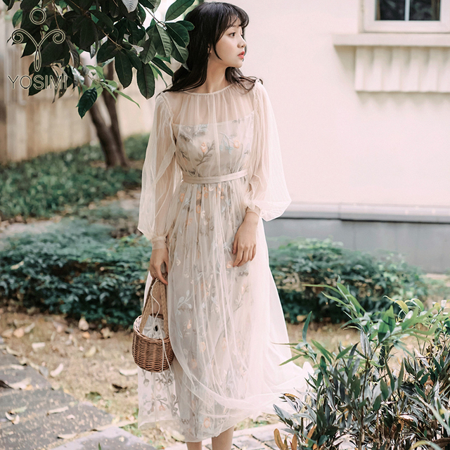 YOSIMI 2019 Summer Vintage Mesh Floral Embroidery Long Women Dress Two piece Outfits Set Dress Evening Party O neck Full Sleeve
