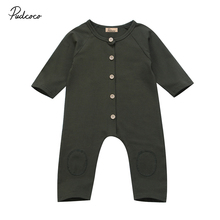 f9e264f251c9 Pudcoco Army Green Newborn Baby Romper Long Sleeve Infant Kids Jumpsuit  Playsuit Outfit Clothes