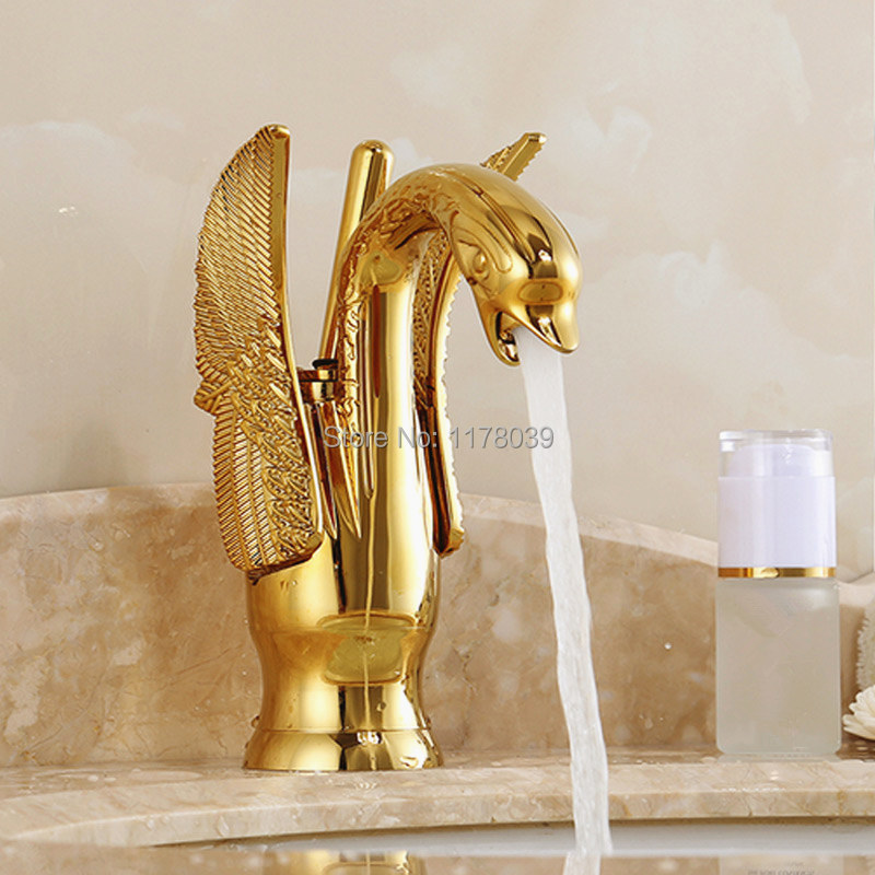 European Gold Bathroom Faucets,luxury Antique Swan Bathroom Hot And Cold  Mixer Tap,quality