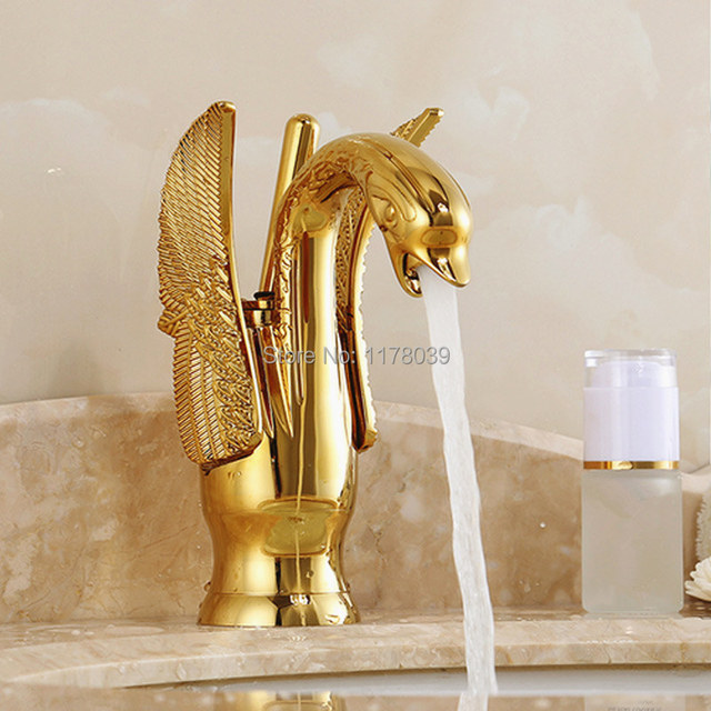 European Gold Bathroom Faucets Luxury Antique Swan Hot And Cold Mixer Tap Quality