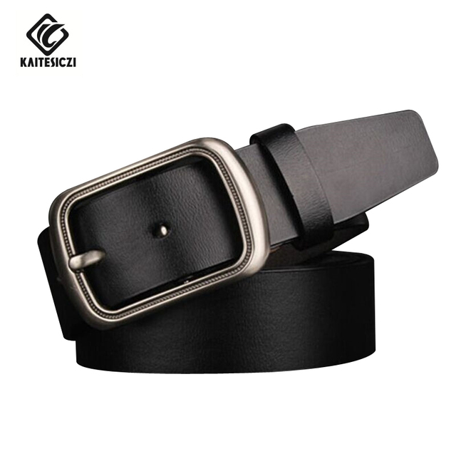 [KAITESICZI]  Men's high quality vintage leather belt men's pure leather belt casual fashion jeans designer boutique Belt Men Be