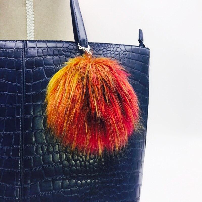 BONAMIE 30Pcs/Lot Large Size 12cm Fashion Handbag Decoration KeyChain Fluffy Hair Ball KeyRing Colorful Charm Car Hanging