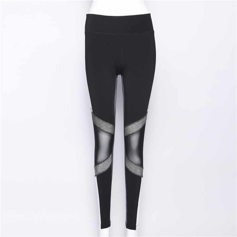 Pembe Mektup Baskı Spor Tayt Kadınlar Yüksek Bel Siyah Beyaz Patchwork Mesh Fitness pantolonları Egzersiz Kadın Tayt