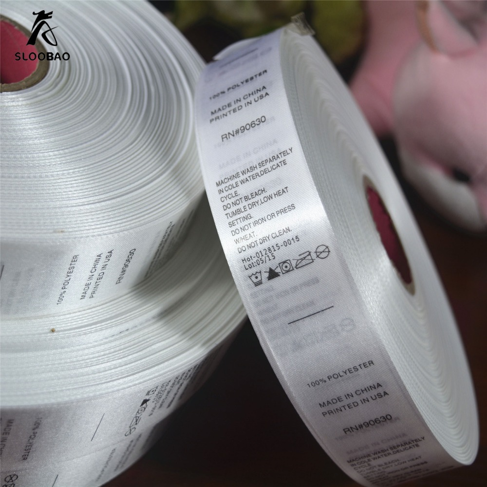 Free shipping wholesale (1000 pieces/lot) customized garment satin Printed Care label& Size labels with trademark/logo ...