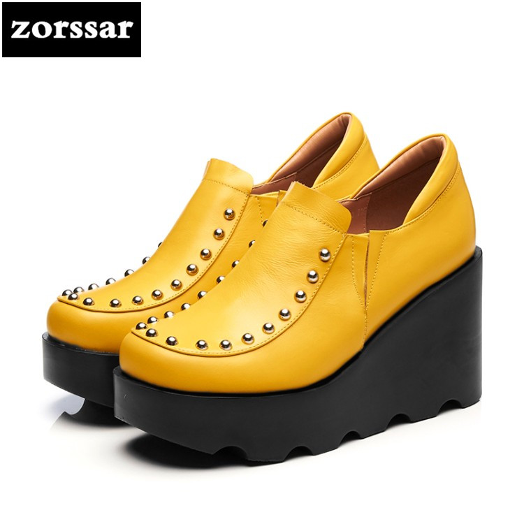 {Zorssar} 2018 NEW Genuine Leather Fashion rivets casual womens shoes Wedges High heels Platform pumps ladies Creepers shoes bling patent leather oxfords 2017 wedges gold silver platform shoes woman casual creepers pink high heels high quality hds59