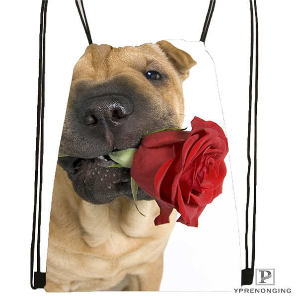 Custom Dog-with-flower-romantic-rose@02- Drawstring Backpack Bag Cute Daypack Kids Satchel (Black Back) 31x40cm#180611-03-105