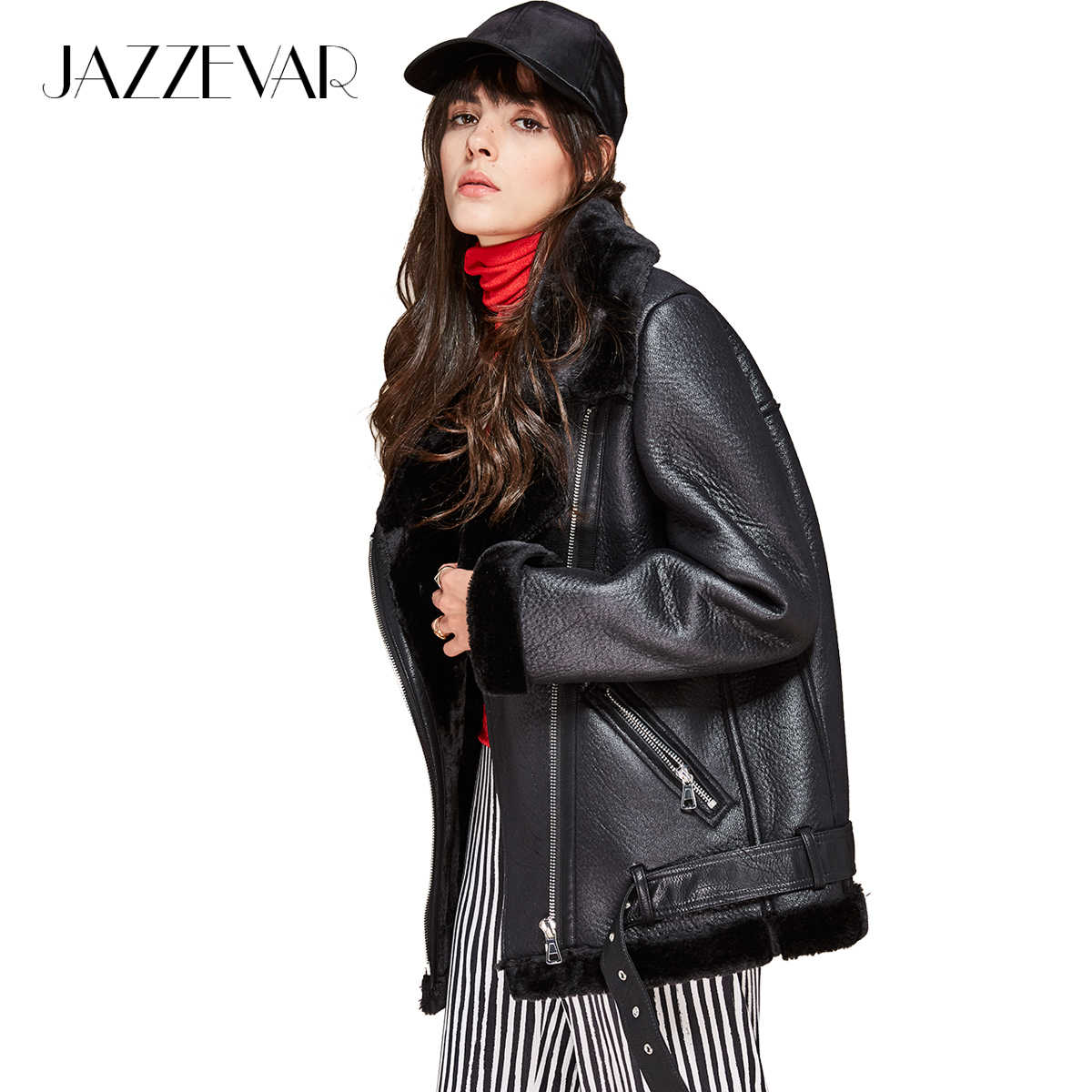 JAZZEVAR 2019 New autumn winter high fashion street women PU leather jacket casual warm zipper jacket imitation fur outwear