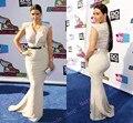 2017 Sexy Cuello En V Cap Manga Larga Vestidos de Noche de La Celebridad Kim Kardashian Vestido De La Venta Caliente vestido de festa longo