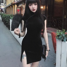 Summer Velvet Dress Women Dress Chinese Cheongsam Harajuku Sexy Dress Tight Dress Gothic Punk Black Pink Vestidos