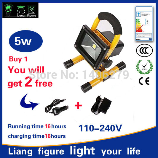5w 16 Hours LED Portable Rechargeable Spotlight AC110-240V LED Outdoor Emergency floodlight