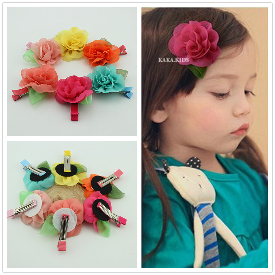 3 5 Black Flower Hair Clip With Flower Center: Hot Sale New Fashion Baby Girl Hair Grips Chiffon Flowers