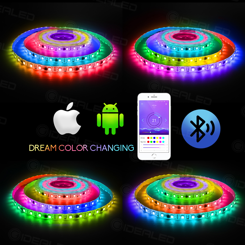 Color Chuanging Led Strip Light Bluetooth Led Controlled Addressable Waterproof LED Flexible Lights Strip For Remote Control