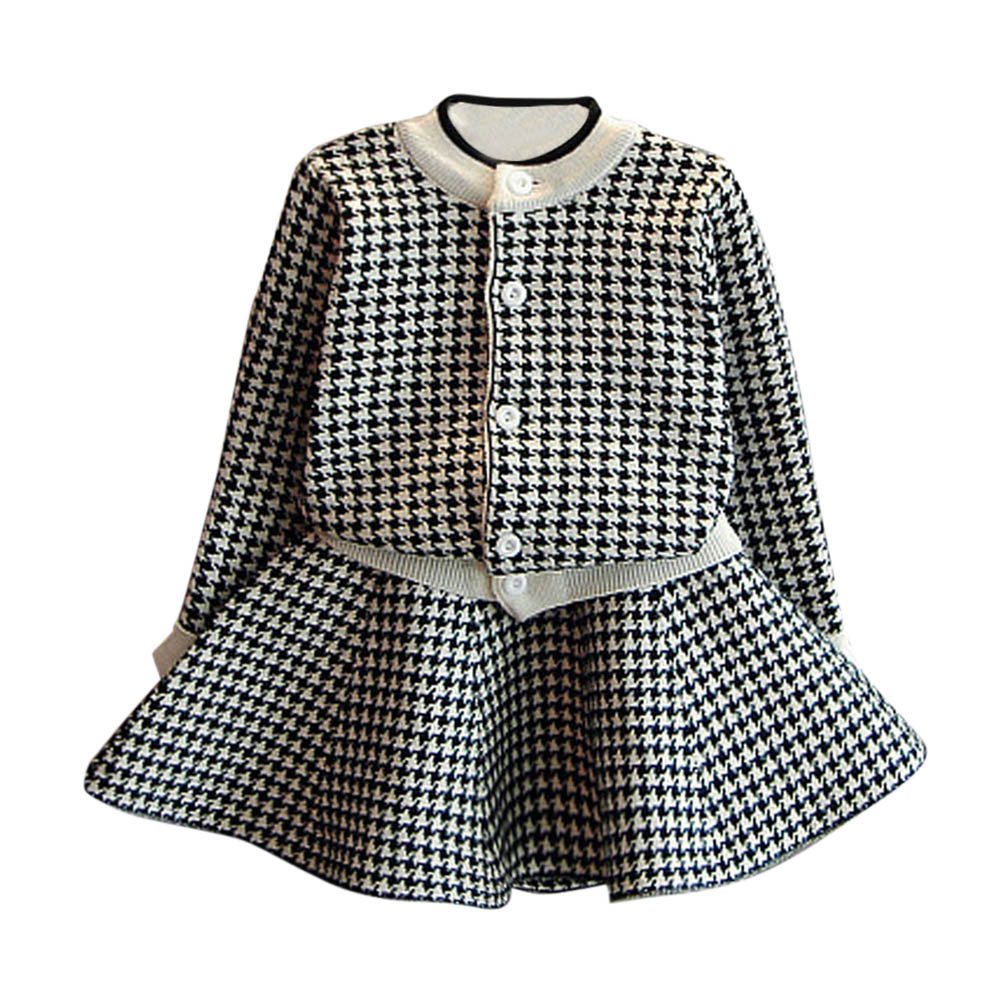 Winter warm Fashion Toddler Kids Baby Girls Outfit Clothes Plaid Knitted Sweater Long Sleeve Coat Tops+Skirt Lady Clothing set