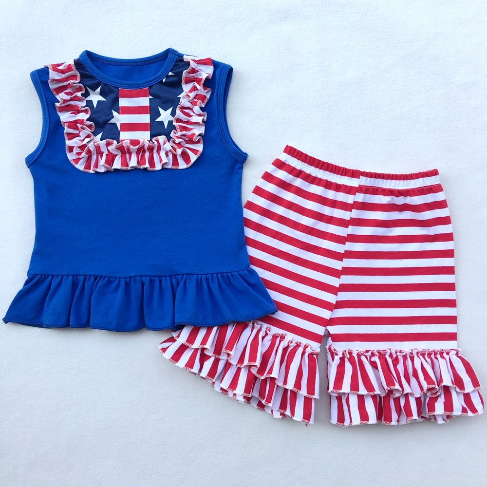 4th of July Baby Girls Clothing Set Icing Girls Tees Ruffle Short Girls Outfit American USA Flag Baby Clothes 2pcs Kids Clothes 4th of july baby girls clothing set summer girls tees ruffle short girls outfit american usa flag baby clothes 2pcs kids clothes