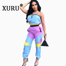 XURU summer new womens color matching sexy jumpsuit fashion casual wrapped chest trousers