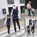 Family Matching Outfits Mother Daughter Clothes Girls Coat Autumn Sports Jacket Children Baseball Uniform Swallow Free Shipping