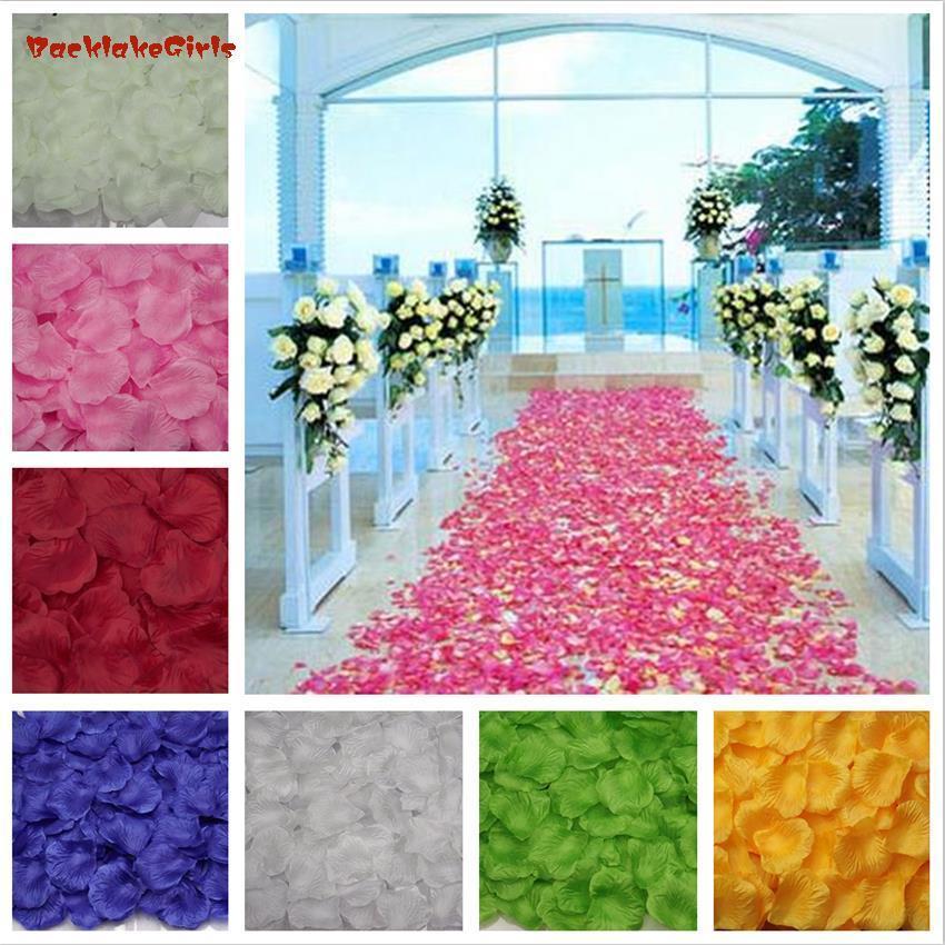 BacklakeGirls 2016 Nueva venta al por mayor 1000 unids/lote Atificial flores poliéster boda pétalos de rosa patal flor
