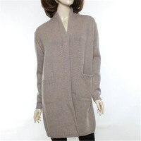 Высокого качества 100% Шевро кашемир v образным вырезом толстой вязки Женская мода элегантные длинные свитер; кардиган; пальто темно синие 4 в
