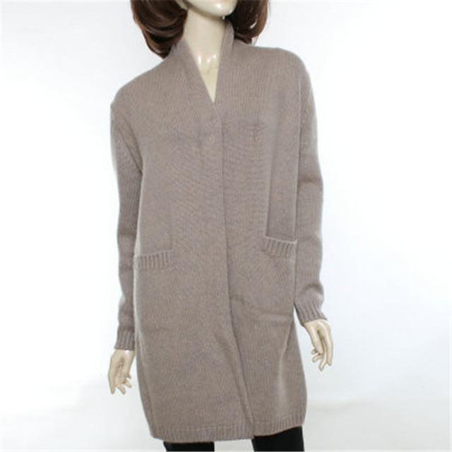 bf4c669a9ba high grade 100%goat cashmere v-neck thick knit women fashion elegant long  cardigan sweater coat dark blue 4color M-3XL