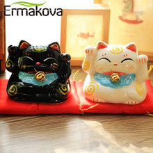 ERMAKOVA Ceramic Lucky Cat Coin Bank Maneki Neko Fortune Cat Statue with Bell Mony Box Home Shop Decoration Gift(China)