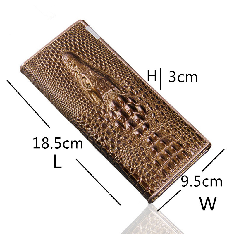 Slymaoyi Women Wallet Female Coin Purses Holders Genuine Leather 3D Embossing Alligator Fashion Crocodile Long Clutch Wallets