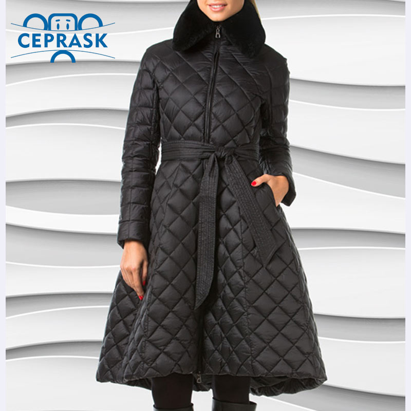 Ceprask 2018 High Quality women s winter coats Plus Size Long female jacket Slim Belt fashion