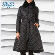 Ceprask высокое качество, поступления 2018 г. женские зимние куртки больших размеров длинные женские куртки тонкий ремень моды Теплая парка Camperas casaco