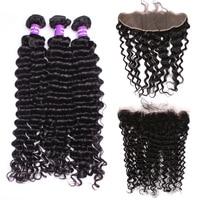 Бразильский глубокая волна Связки с 13x4 кружева Фронтальная застежка 3 шт. человеческих волос Волосы remy Мёд queen Hair продукты