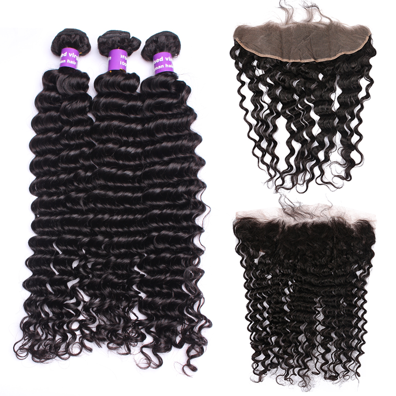 Brazilian Deep Wave Bundles With 13x4 Lace Frontal Closure 3Pcs Human Hair Extension Remy Hair Honey Queen Hair Products