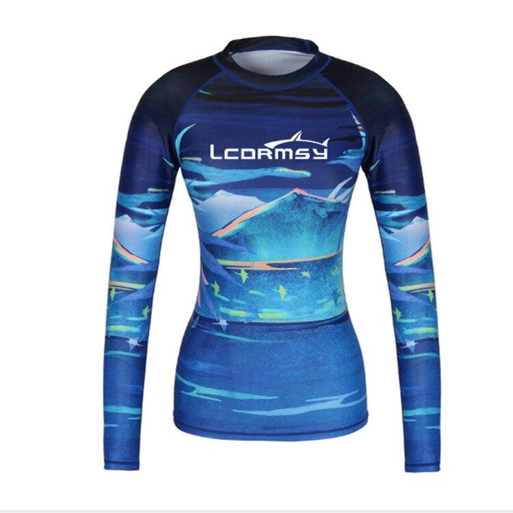 Women Rash Guard Long Sleeve Swimwear Swim Shirts Upf 50 Surf Windsurf Paddle Tops Wetsuit Diving Beach Tee Compression in Rash Guard from Sports Entertainment