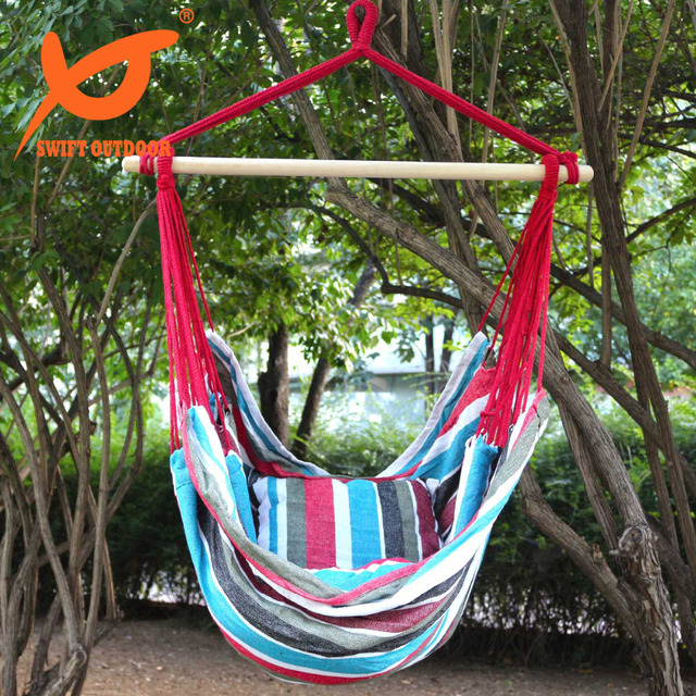 rope chair swing safavieh dining chairs swift outdoor hanging hammock porch seat two cushions striped