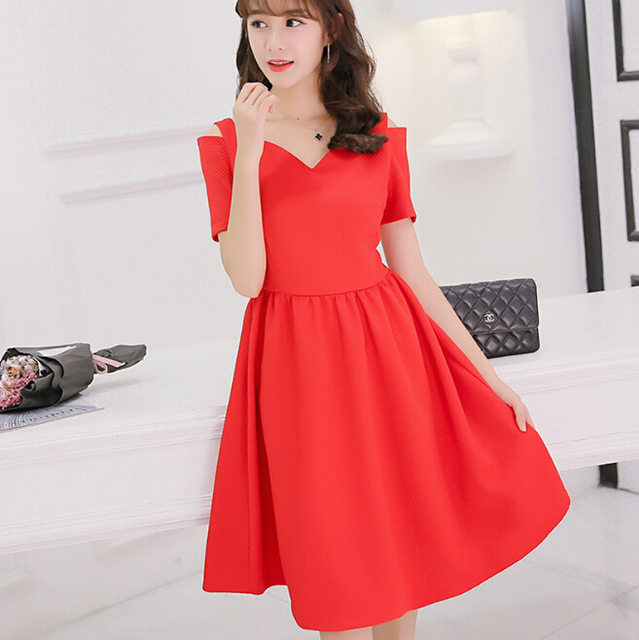 3bc24682aa8d5 Korean cute Dew shoulder short sleeve summer dress women clothing patchwork  bodycon dress black red dress Vestidos