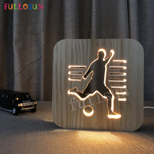 Desk Lamp LED Soccer Wooden Carving Light Lamp Decorative Lamps for Living Room Support Droshipping недорого