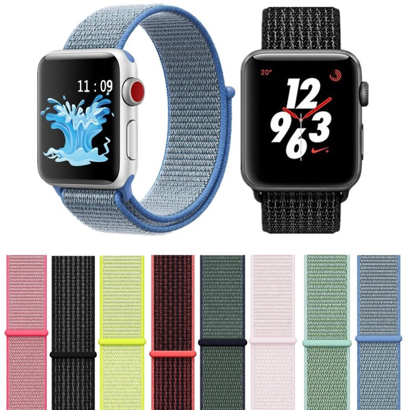 4ac38fe9d33 42mm 38mm Colorful Sport Nylon Loop Watch Strap For Apple Watch Band iWatch  Series 4 3